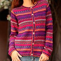 100% alpaca cardigan, 'Be Bold' - Handcrafted Peruvian Alpaca Wool Women's Cardigan Sweater