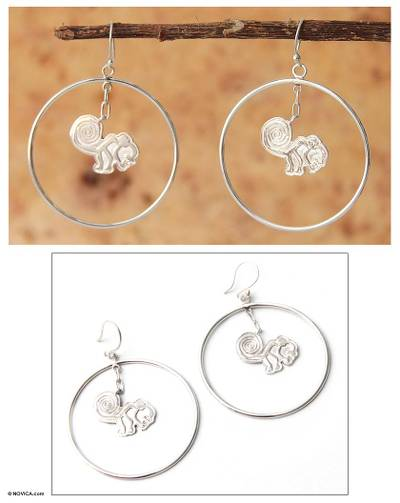 Silver dangle earrings, 'Playful Nazca Monkey' - Handcrafted Fine Silver Dangle Earrings