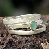 Opal cocktail rings, 'Trio' (set of 3)