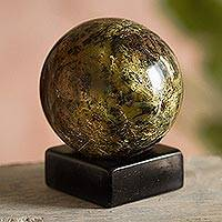 Serpentine sphere, 'Forest Whisper' - Modern Serpentine Gemstone Sculpture