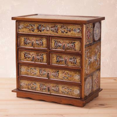 Reverse painted glass jewelry chest, 'Golden Glow' - Reverse Painted Glass Jewelry Chest from Peru