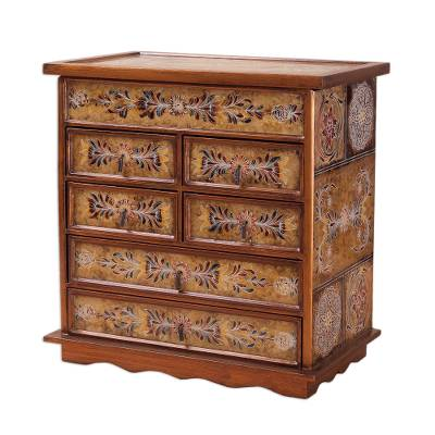 Reverse Painted Glass Jewelry Chest from Peru