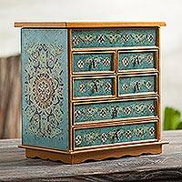 Reverse painted glass jewelry chest, 'Lima Blue' - Reverse Painted Glass Jewelry Chest from Peru