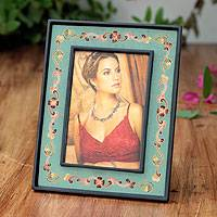 Painted glass photo frame, 'Colonial Aqua' (4x6) - Reverse Painted Glass Picture Frame (4x6)