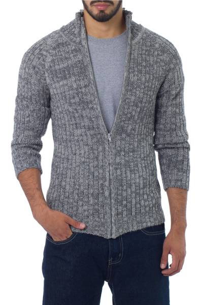 Men's 100% alpaca jacket, 'Cloudfall' - Men's Alpaca Wool Zip Cardigan Sweater