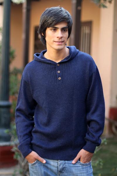 Men's alpaca blend sweater, 'Midnight Blue' - Men's Alpaca Wool Pullover Sweater