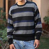 Men's alpaca blend sweater, 'Casual Classic' - Men's Striped Alpaca Wool Sweater