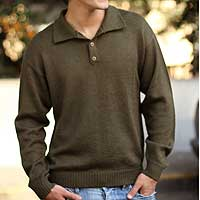 Alpaca men's sweater, 'Olive' - Men's Alpaca Wool Sweater