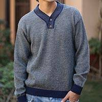 Men's alpaca blend sweater, 'Gray Day'