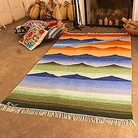 Wool rug, 'Sunset' (4x6) - Peruvian Hand Loomed Wool Area Rug (4x6)