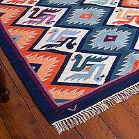 Wool rug, 'Matrimony' (4x6) - Hand Made Collectible Wool Area Rug (4x6)