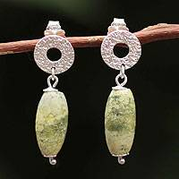 Serpentine dangle earrings, 'Olive' - Unique Silver and Serpentine Dangle Earrings