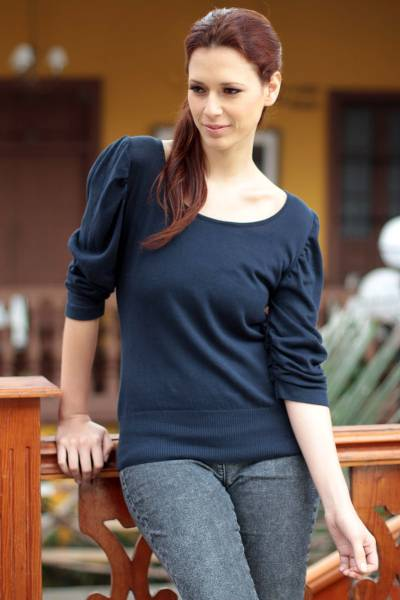 Cotton top, 'Cuzco Navy Empress' - Handcrafted Cotton Solid Knit Top