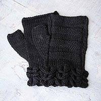 100% baby alpaca fingerless mitts, 'Ebony Petals' - Unique 100% Baby Alpaca Wool Solid Fingerless Mitts