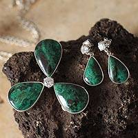 Chrysocolla jewelry set, 'Exquisite Clover' - Chrysocolla jewellery set