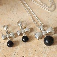 Obsidian jewelry set, 'Love Knots' - Obsidian jewelry set