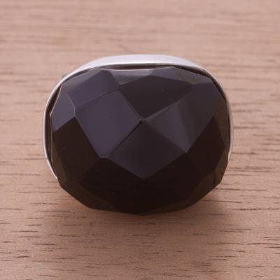Obsidian solitaire ring