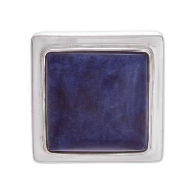 Artisan Crafted Fine Silver and Sodalite Cocktail Ring