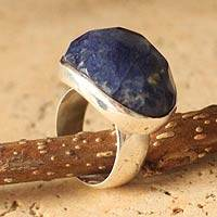 Sodalite solitaire ring,