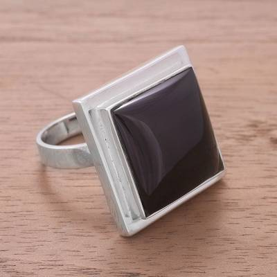 male rings silver bricks - Obsidian cocktail ring