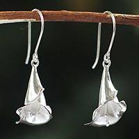 Silver flower earrings, 'Magnificent Calla' - Handmade Fine 950 Silver Flower Earrings