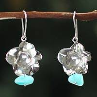Amazonite dangle earrings, 'Leaves in the Sky' - Amazonite dangle earrings