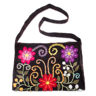 Artisan Crafted Wool Embroidered Handbag