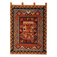 Wool tapestry, 'Warrior' - Hand Made Wool Tapestry