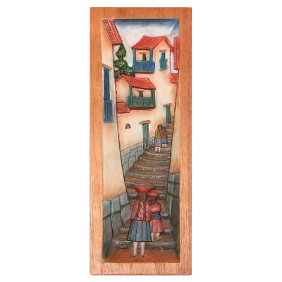 Cedar relief panel, 'Cuzco Lane' - Cultural Wood Relief Panel