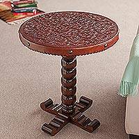 Cedar and leather accent table, 'Floral' - Cedar and leather accent table