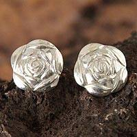 Sterling silver flower earrings, 'Summer Rose' - Sterling silver flower earrings