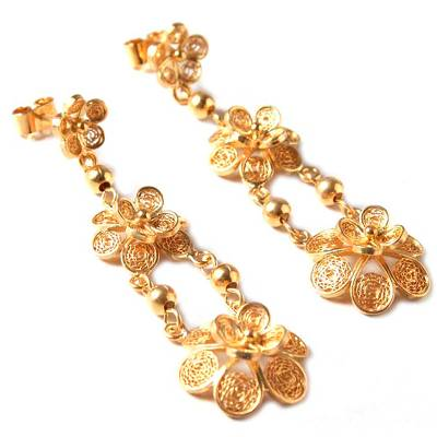 Floral 21K Gold Vermeil Filigree Dangle Earrings