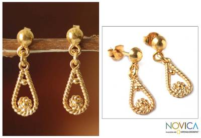 Gold plated dangle earrings, 'Love Knot' - Gold Plated Dangle Earrings