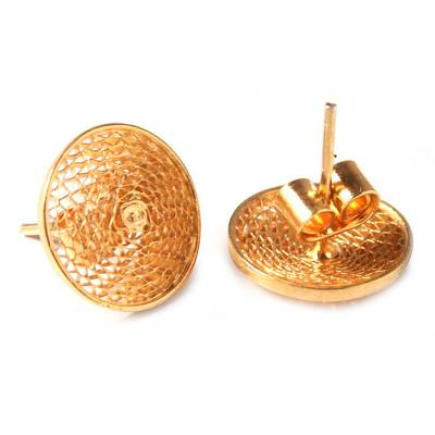 Handcrafted Gold Plated Button Earrings