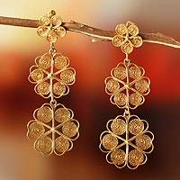 Gold plated filigree earrings, 'Flower Shower'
