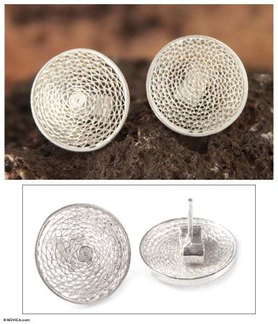 Silver filigree stud earrings, 'Starlit Moon' - Sterling Silver Button Earrings