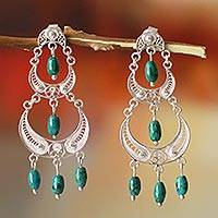 Chrysocolla chandelier earrings, 'Moon Goddess'