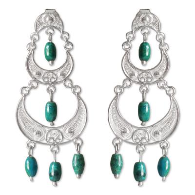 Peruvian Silver Filigree Chrysocolla Earrings