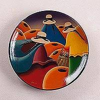 Ceramic plate, 'Women with Baskets' - Ceramic plate