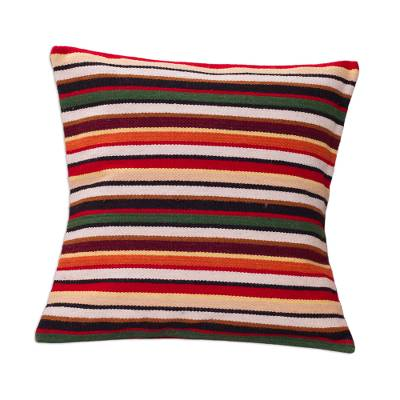 Wool cushion cover, 'Parallel Symphony' - Unique Geometric Wool Striped Cushion Cover