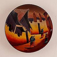 Ceramic plate, 'Village in the Highlands' - Ceramic plate