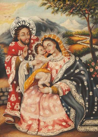 Cuzco Style Religious Painting by Andean Artist