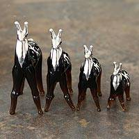 Blown glass with silver leaf figurines Amber Moche Llamas set of 4 Peru