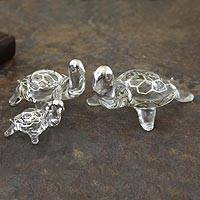 Blown glass with silver leaf figurines, 'Lucky Silver Turtles' (set of 3) - Blown glass with silver leaf figurines (Set of 3)