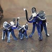 Blown glass silver leaf figurines,