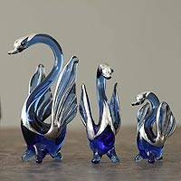 Blown glass silver leaf figurines Sapphire Swans of Love set of 3 Peru