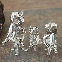 Blown glass silver leaf figurines, 'Owls of Justice' (set of 3) - Handblown Glass Clear Wise Owl Sculpture (Set of 3)