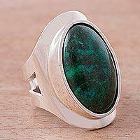 Chrysocolla cocktail ring, 'Cradle of Peace' - Sterling Silver Single Stone Chrysocolla Cocktail Ring