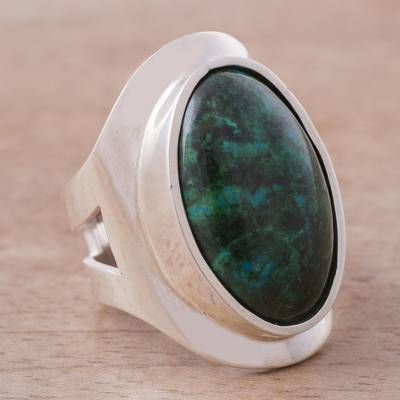 Sterling Silver Single Stone Chrysocolla Cocktail Ring