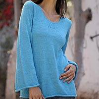 Alpaca blend sweater, 'Sky Blue Charisma' - Unique Alpaca Wool Pullover Sweater from Peru